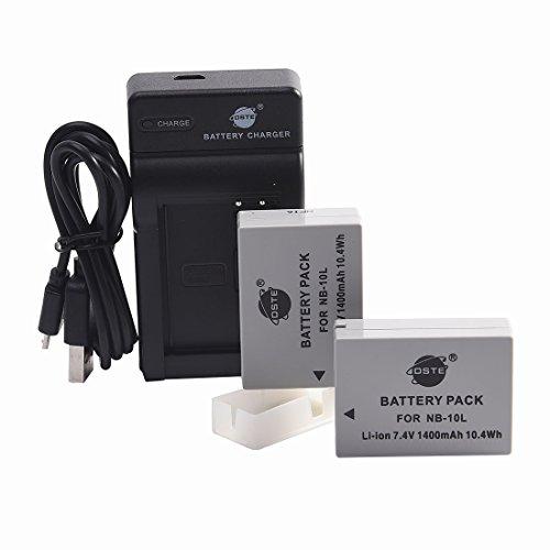 DSTE NB-10L Li-Ion Batería (2 Paquetes) Traje y Cargador Micro USB para Canon PowerShot G1 X, G3 X, G15, G16, SX40 HS, SX50 HS,SX60 HS