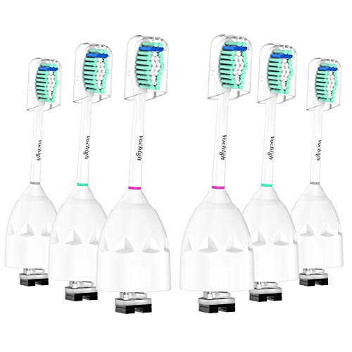 Replacement Toothbrush Heads Compatible with Philips-Sonicare: fits Philips Sonicare e-Series, CleanCare & Xtreme Screw-on Electric Brush Handles, 6 Pack