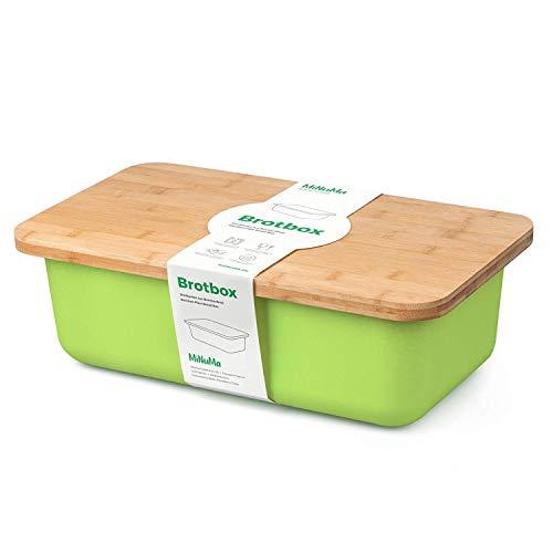 Minuma® Brotkasten Brotbox aus Bambusfaser mit integriertem Bambusschneidebrett als Deckel (lebensmittelecht) | hellgrün