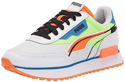 PUMA Men's Future Rider Sneaker, White-Green Glare-Vibrant Orange, 5.5