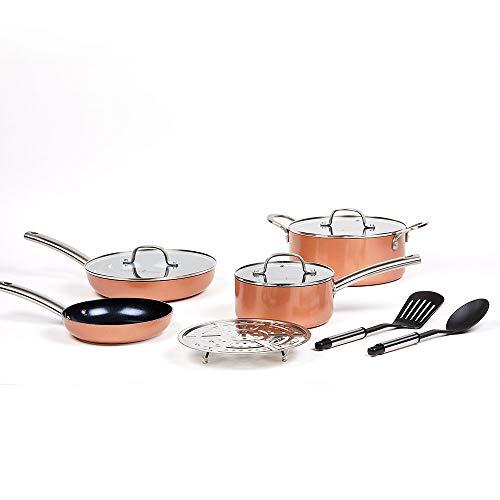 Copper Chef Black Diamond 10-Piece Non-Stick Induction Cookware Set, Stackable, Pots and Pans