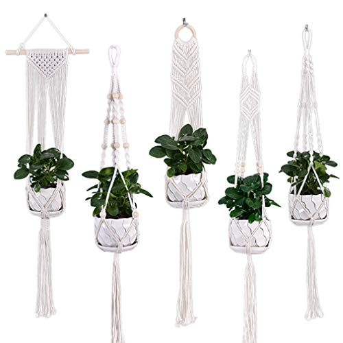 5-Pack Plant Hangers Indoor, 40-Inch Tall Cotton Rope Macrame Hanging Planter, Hanging Plant Holder...