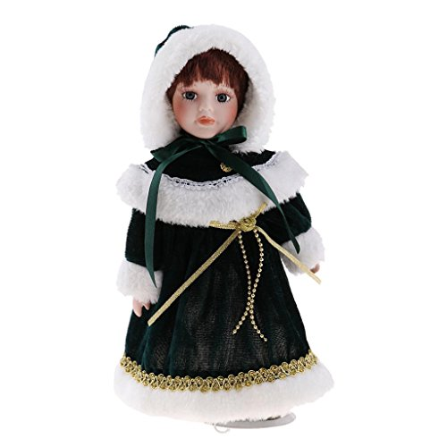 D DOLITY 30cm Porzellan-Puppe mit Halterung - hübsche Viktorianische Mädchen Puppe mit Kleidung Dekoration - # B