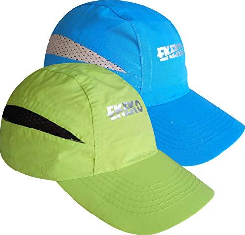 EKEKO Pack x 2 Unidades Gorra T Race, Gorra de Running, Playa y Deportes en General. con Goma de sujecion Regulable con Clip. (Verde/Azul)