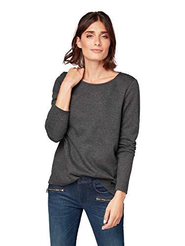 TOM TAILOR Damen bequemes Sweatshirt, Grau (Dark Charcoal Grey 2630), X-Small