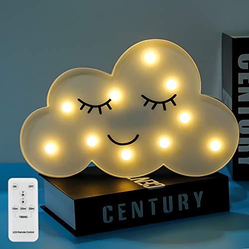 Led wolke nachtlichter lampen emoji gesicht festzelt licht zeichen timer & fernbedienung timer & dimmbare tischlampe spielzeug geschenke für mädchen kinder schlafzimmer kidsroom wohnkultur