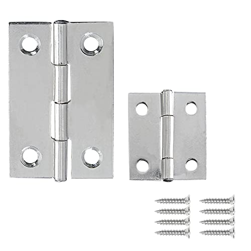 BokWin 50Pcs Folding Butt Hinges 1 Inch & 2 Inch Stainless Steel Furniture Hinges for Cabinet Door Wooden Jewelry Box