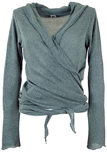 Guru-Shop Wickelshirt, Baumwollstrick Pullover, Wickeljacke, Damen, Taubenblau, Baumwolle, Size:M (38), Pullover, Longsleeves & Sweatshirts Alternative Bekleidung