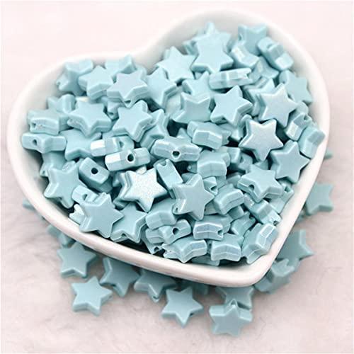 10mm Macaron Perline acriliche a forma di stella a cinque punte Perline sciolte con fori Artigianato per gioielli fai da te Creazione di accessori fatti a mano 10g-azzurro,10gram