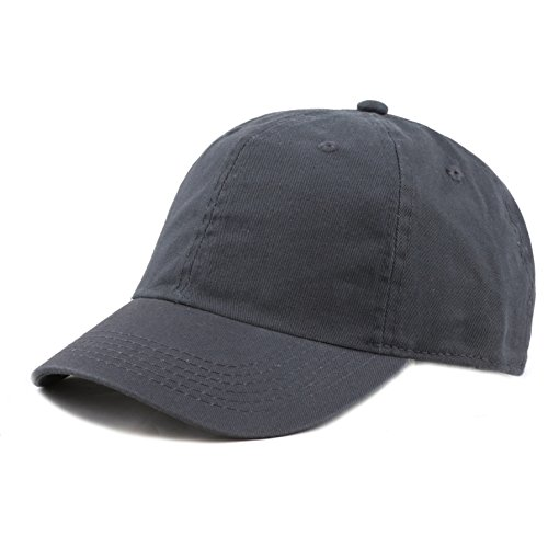 The Hat Depot Kids Washed Low Profile Cotton and Denim Plain Baseball Cap Hat (6-9yrs, Charcoal)
