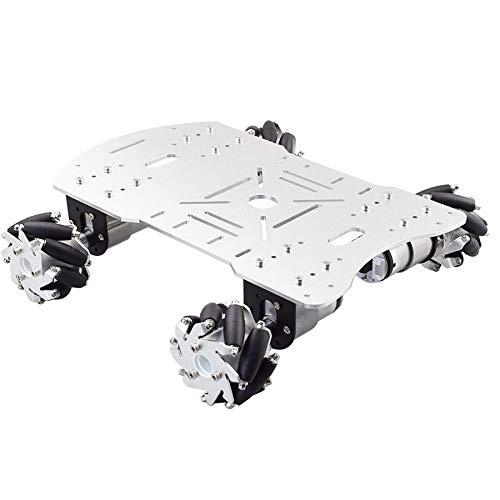 SNOWINSPRING Kit per Auto Robot con Ruote Mecanum con 4 Pezzi 12V velocità Motore Encoder Piattaforma Robot Telaio Carico Massimo 15 kg per