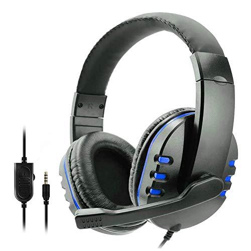 SODIAL Auriculares con Cable con MicróFono TeléFono PortáTil Auriculares de Computadora con Sonido EstéReo para Juegos para PS5 PS4 Azul