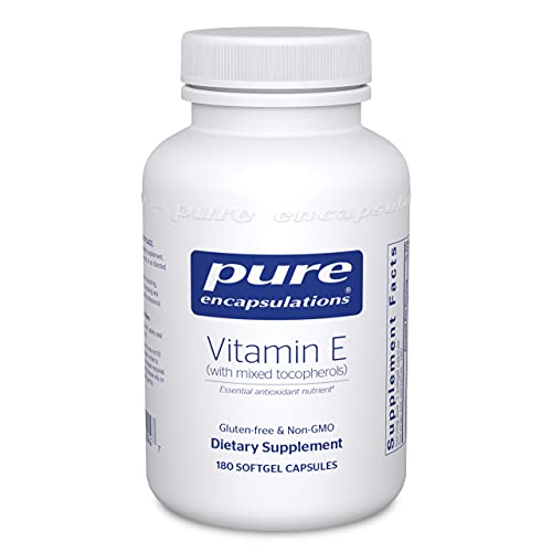 Pure Encapsulations Vitamin E (with Mixed Tocopherols)   Antioxidant Supplement to Support Cellular Respiration and Cardiovascular Health*   180 Softgel Capsules