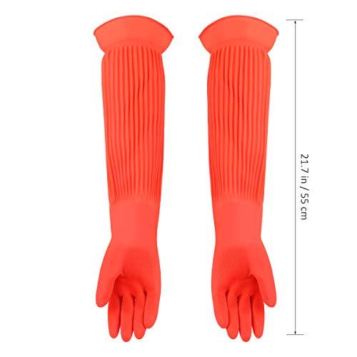 guanti lunghi lattice POPETPOP Guanti per Acquario Guanti per Acquario in Lattice Allungato Guanti industriali Resistenti all Usura Guanti di Protezione per Uso Domestico Guanti per lavastoviglie (Misura Libera)