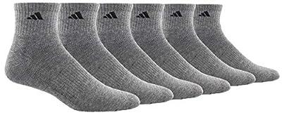 adidas Men's Athletic Cushioned Quarter Sock (6-Pair), Heather Grey/Black, Large, (Shoe Size 6-12)