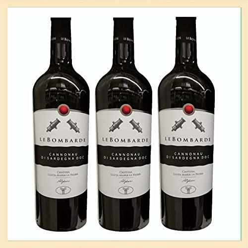 3x Cannonau di Sardegna doc, Le Bombarde, cl 75, cantina Santa Maria la Palma, vino rosso, prodotto tipico Italia