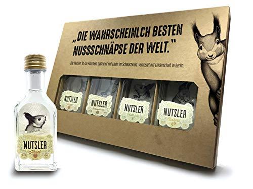 Nutsler Schnaps Probier- & Geschenk-Set | Pistazie, Haselnuss, Kokosnuss & Cashew | 4x 40ml: 35% vol.