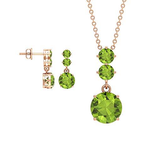 Juego de pendientes y collar de peridoto redondo 4.47, collar y pendientes de oro con colgante de tres collares de piedras, conjuntos de joyas de piedras preciosas verdes (calidad AAA) verde