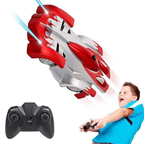 Pup Go Fernbedienung Wandklettern Spielzeug Rennwagen - Dual Mode 360 ° Drehbarer Stunt Wiederaufladbar mit Bunten LED-Lichtern Schwerkraft Trotzt Rennfahrzeug, 3+ Jährige Jungen Mädchen (Rot)