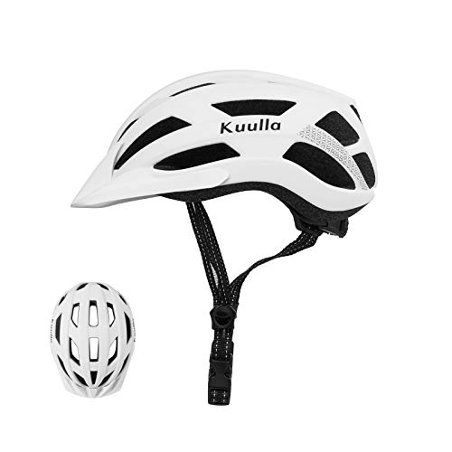 Adult Bike Helmet Adjustable Bicycle Helmet Lightweight Mountain Road Cycling Helmet with Replacement Pads for Women and Men (Matte White, M(21.6-22.8 in/55-58cm))