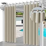 Cortina para Exteriores Impermeable 220 x 155 cm, para Evitar el Agua, Resistente al Viento, para Patio, Porche Frontal, pérgola, casa de Playa, (2 Pieza) Beige [129]