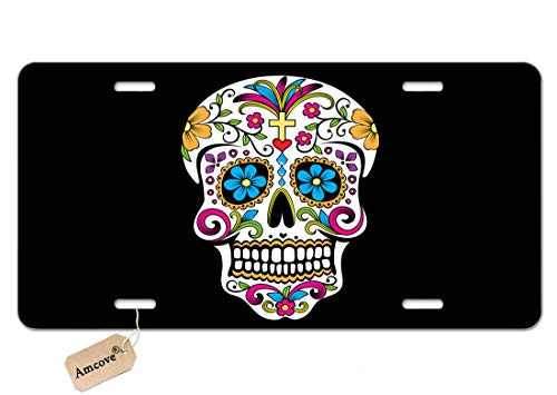 Amcove Along and Sugar Skull Custom License Plate Holder Durable Car Tag 6 X 12 Inches with 4 Holes