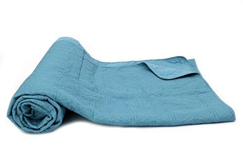 1001 Wohntraum 17JN28 Quilt Anne Karo grau - blau, Plaid Tagesdecke, Muster Decke (240 x 260 cm)