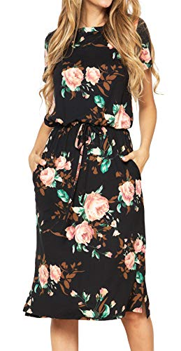 Womens Short Sleeve Loose Tops Elastic Waist Pockets Midi Casual Dress Black XL