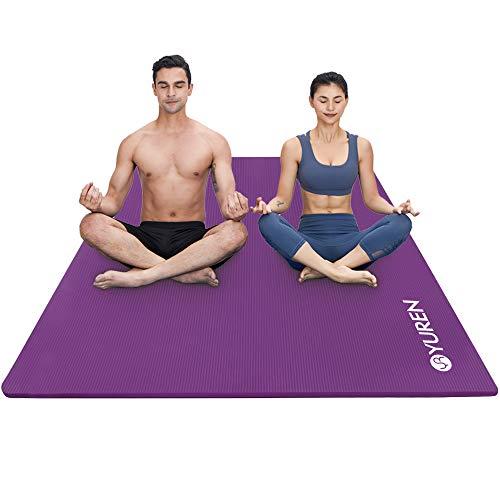 YUREN Esterilla Yoga 200×130cm 10mm Gruesa Colchoneta de Yoga Material Ecológico NBR Antideslizante Alfombrilla de Yoga Esterilla Pilates Esterilla Deporte (Púrpura)