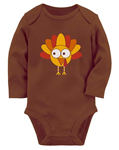 Little Turkey Thanksgiving Baby Outfit Holiday Cute Long Sleeve Baby Bodysuit 6M Brown