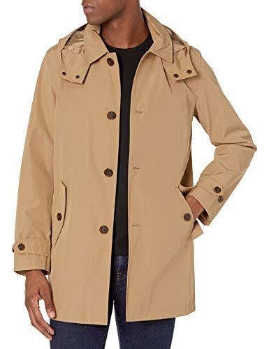Tommy Hilfiger Men's Hooded Rain Trench Jacket, Khaki, S