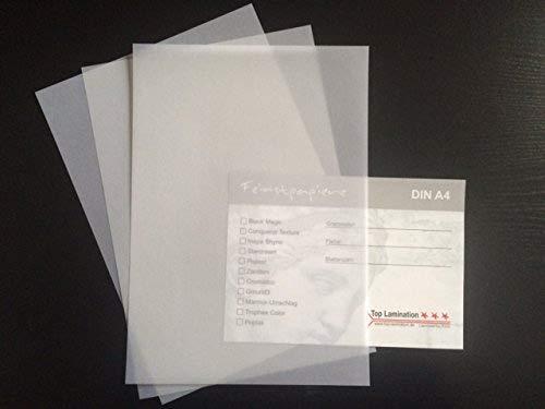 Zanders T2000 100 Blatt Transparentpapier von Top Lamination Laminiertechnik klar weiß DIN A4 200 g/qm Super Qualität
