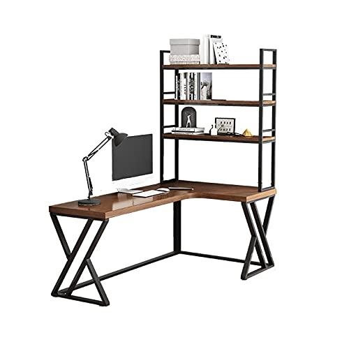 Escritorio Escritorio de oficina en forma de L-en forma multifuncional Escritorio de oficina para el hogar con estantes de almacenamiento de 3 capas de la estación de trabajo de soporte grande, color