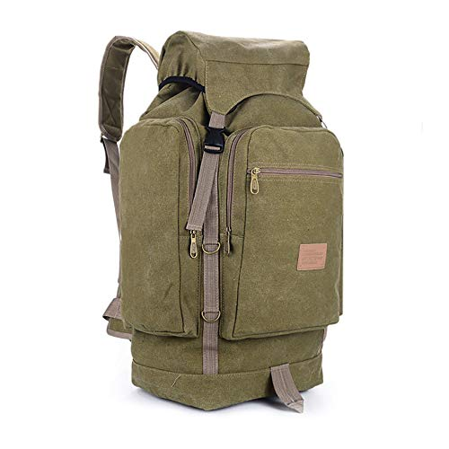CLBING 80L / 60L Retro Durable Large Backpack, Hiker Backpack, Camping Luggage Rucksack For Men Women,Khaki-L