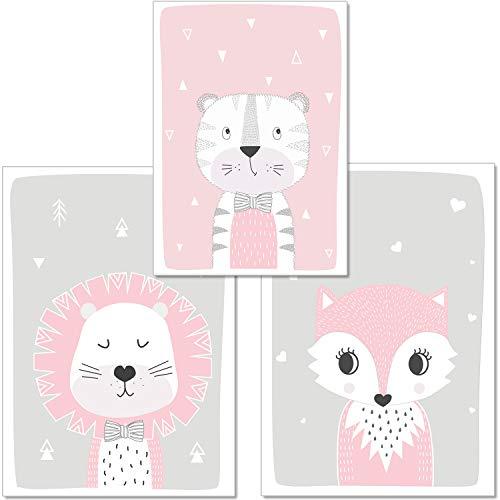 artpin® 3er Set Poster Kinderzimmer Von Künstlerin - Bilder Babyzimmer - A4 Wandbilder Deko Für Mädchen Im Skandinavischen Stil Grau Rosa - Kinderposter - Waldtiere Löwe,Fuchs,Tiger P1