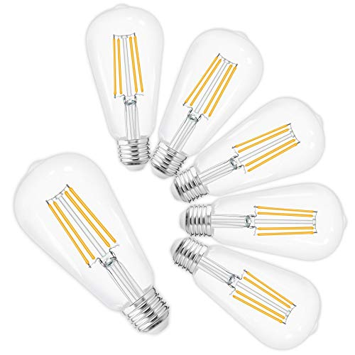 LED Edison Bulbs Vintage,Daylight White 4000K,60 Watt Equivalent,ST58 Chandelier Fan Filament Light Bulb,E26 Medium Base,800 Lumen,Non Dimmable,Pack of 6