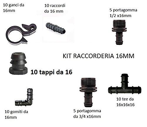 kit raccordi raccorderia mista da 16 mm con tee gomiti derivazioni filettate tappi fine linea adatti per tubi gocciolenti pn4 e pn6