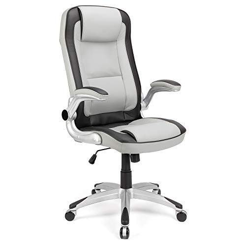 Futurefurniture®Racing Stuhl Bürostuhl Schreibtischstuhl Schreibtischstuhl Gaming Stuhl Chefsessel Drehstuhl PU, Grau