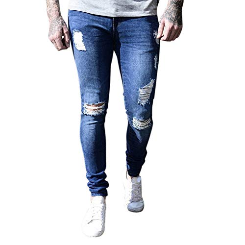 Metermall Fashion For Men Trendy Break Hole Skinny Jeans Frayed Slim Fit Denim Ripped Pants