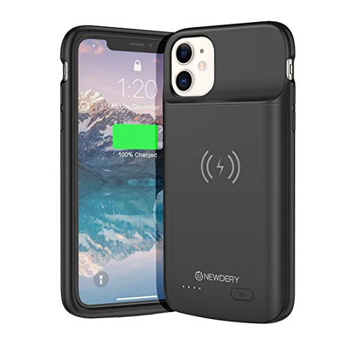 NEWDERY Battery Case for iPhone 11 Qi Wireless Charging Compatible, 5000mAh Extended Battery Pack Rechargeable Protective Charger Case for iPhone 11 (6.1') Black