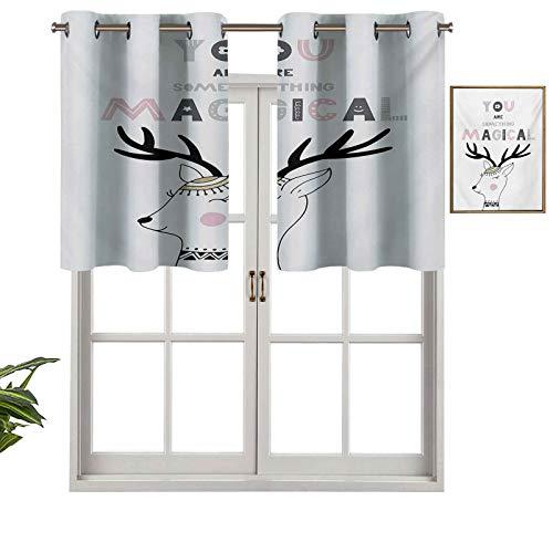 Hiiiman Cortinas opacas con cenefas antirayos UV You are Something Magical Slogan con diseño de ciervo de bosque con motivos en zigzag, juego de 1, 132 x 45 cm para interior comedor o dormitor