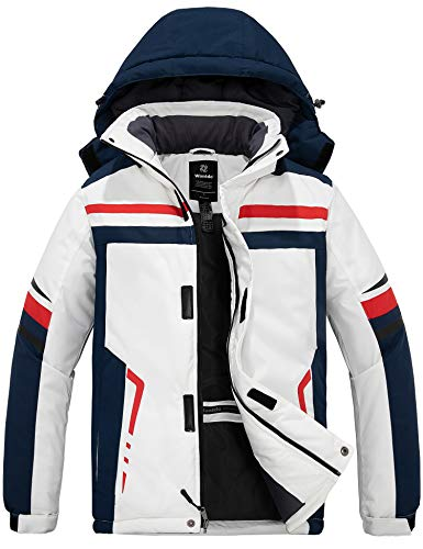Wantdo Chaqueta de Esquí Impermeable Montaña Chaqueta de Snowboard a Prueba de Viento para Hombre Abrigo de Nieve Cálido Invierno Hombre Blanco Crema Medium