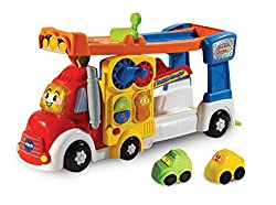 TOOT-TOOT VEHICLES CARRIER: Included in this playset is a 2-in-1 vehicle carrier which includes 2 mini vehicles and carries up to 5 full sized Toot-Toot Driver cars, while also boasting motion sensors that trigger fun sounds and phrases BABY INTERACT...