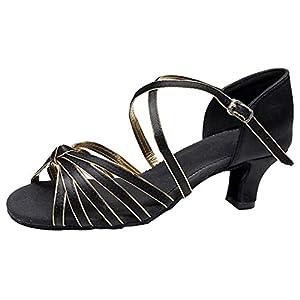 YWLINK Rumba Bola De Vals Zapatos De Baile Latino para Adultos De Boca para Mujer De La Escuela Secundaria con Zapatos De Baile Cuadrados De Fondo Suave Fiesta(Oro,37EU)