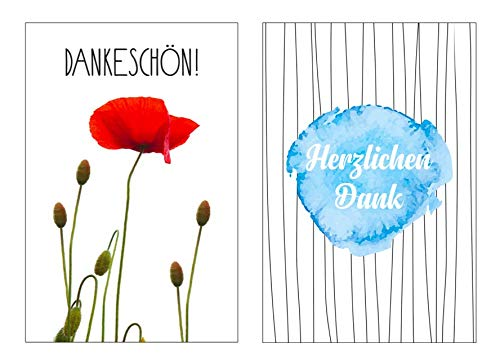 2 Stück Premium Dankeskarten (Klappkarten) mit 2 Umschlägen, Danke, Dankeschön, Karten, Dankekarten, Hochzeit, Geburt, Baby, Taufe, Abschied, Geburtstag, Jubiläum