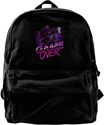 Yuanmeiju Canvas Backpack Game Over Kung Fury Rucksack Gym Hiking Laptop Shoulder Bag Daypack for Men Women