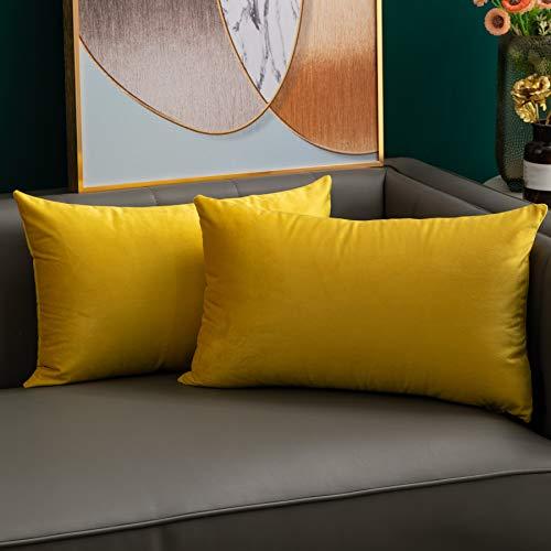 softpoint Fundas de cojín de terciopelo amarillo de 30 cm x 50 cm, fundas...