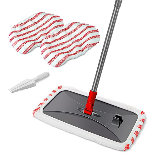 Large Surface Microfiber Flat Mop with 3 Pcs Reusable Mop Heads Cleaning Comb Scrapper and...