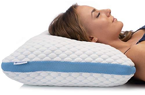 Luckybacks Traagschuim Kussen met verstelbare loft en gewatteerde hoes - hoofd- en neksteun voor de hele nacht comfort