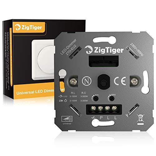 Zigtiger - Interruptor de regulación LED regulable, regulable, 3 – 100 W, sin garras de sujeción